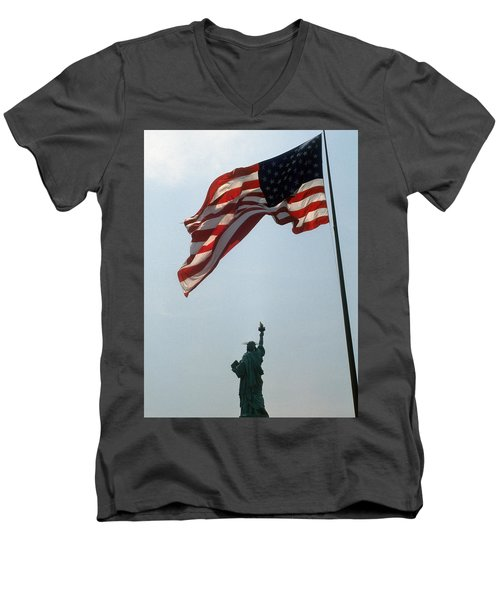 Flag And Statue Of Liberty Men's V-Neck T-Shirt by Carl Purcell
