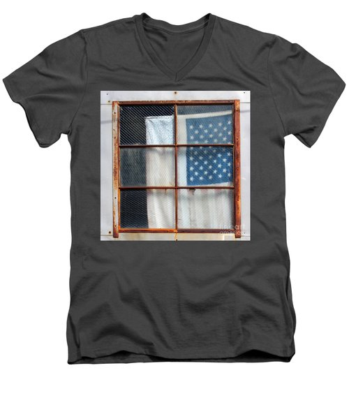 Flag In Old Window Men's V-Neck T-Shirt by Cheryl Del Toro