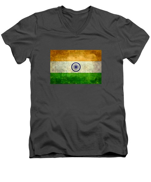 Flag Of India Retro Vintage Version Men's V-Neck T-Shirt by Bruce Stanfield