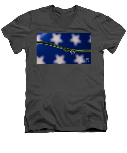flag on a Wire Men's V-Neck T-Shirt