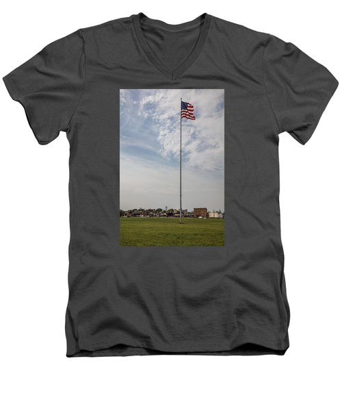 Flag Poll At Detroit Tiger Stadium  Men's V-Neck T-Shirt