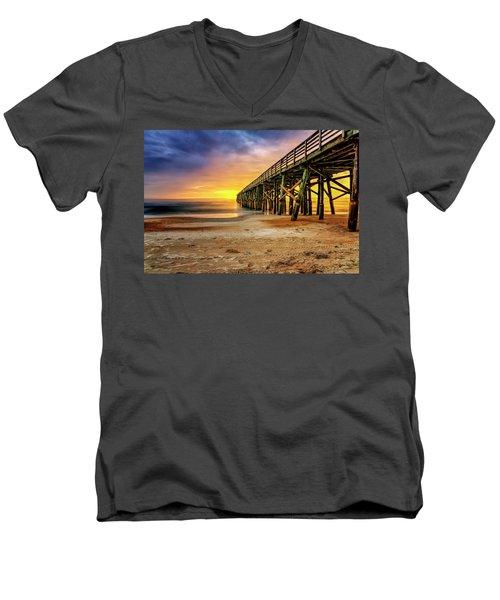 Flagler Beach Pier At Sunrise In Hdr Men's V-Neck T-Shirt