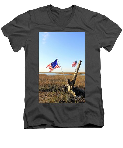 Flags Near Tybee Men's V-Neck T-Shirt