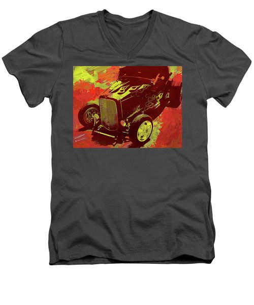 Flamed 1932 Ford Roadster Hot Rod Pop Red Men's V-Neck T-Shirt