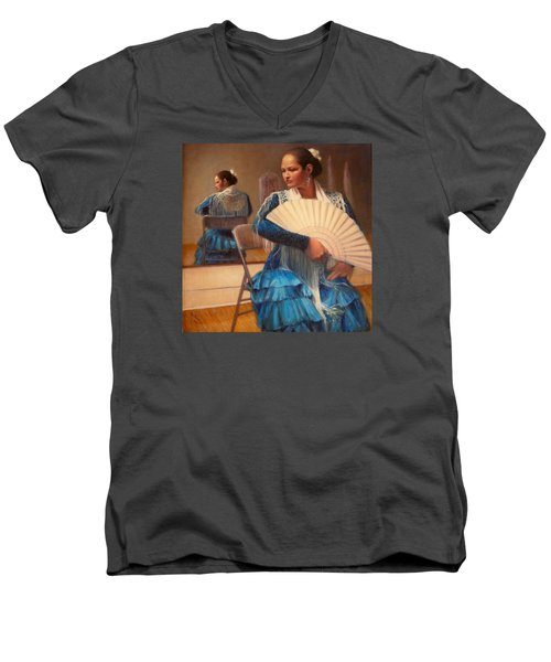 Men's V-Neck T-Shirt featuring the painting Flamenco 1 by Donelli  DiMaria