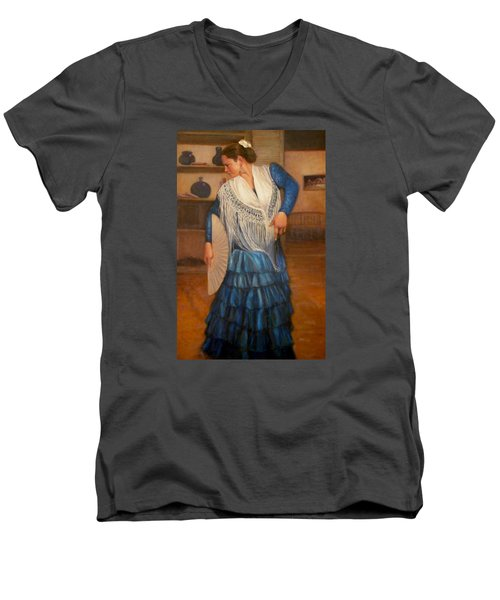 Men's V-Neck T-Shirt featuring the painting Flamenco 2 by Donelli  DiMaria