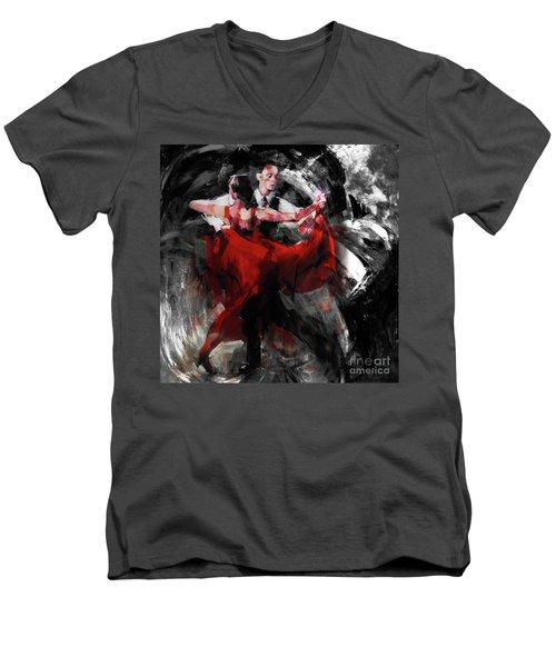 Flamenco Couple Dance  Men's V-Neck T-Shirt