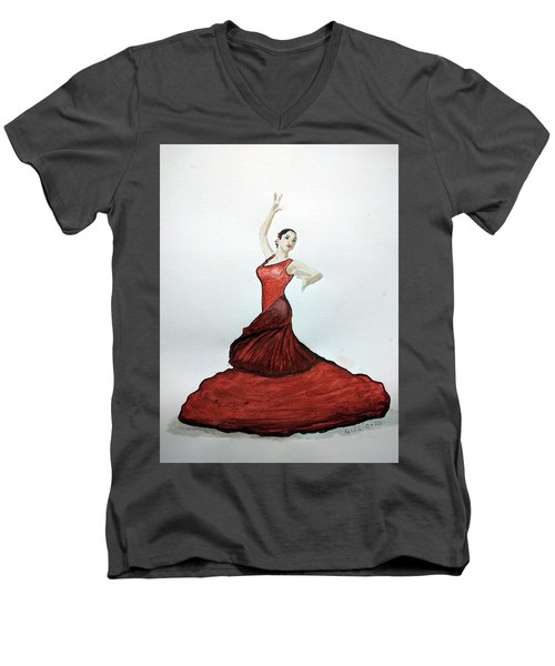 Men's V-Neck T-Shirt featuring the painting Flamenco Dancer by Edwin Alverio