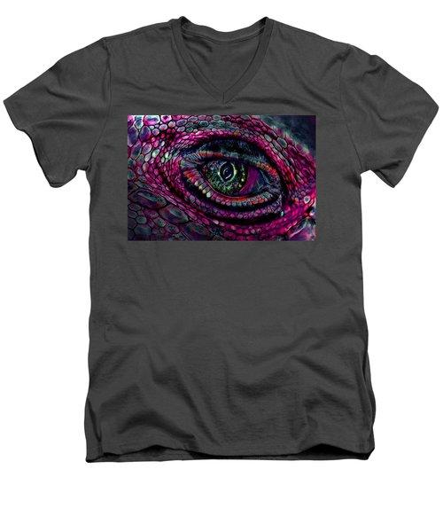 Flaming Dragons Eye Men's V-Neck T-Shirt