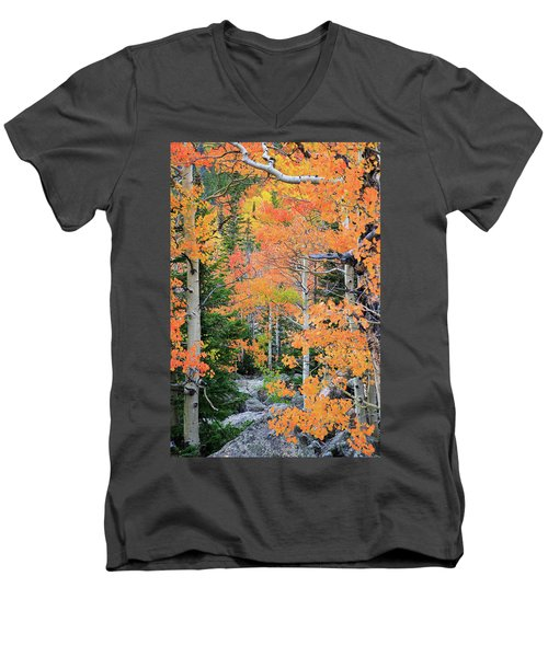 Men's V-Neck T-Shirt featuring the photograph Flaming Forest by David Chandler