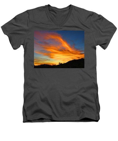 Flaming Hand Sunset Men's V-Neck T-Shirt