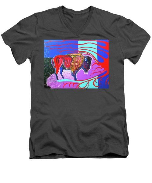 Flaming Heart Buffalo Men's V-Neck T-Shirt