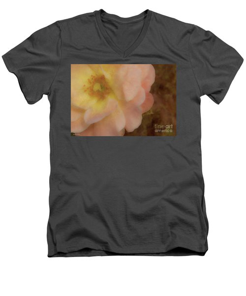 Men's V-Neck T-Shirt featuring the photograph Flaming Rose by Phil Mancuso