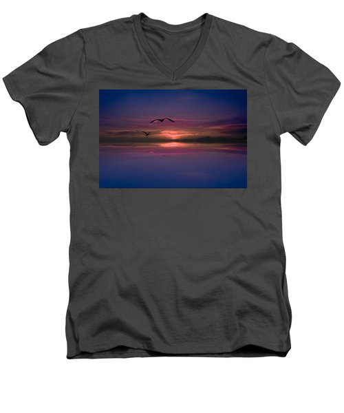 Flaming Sky  Men's V-Neck T-Shirt