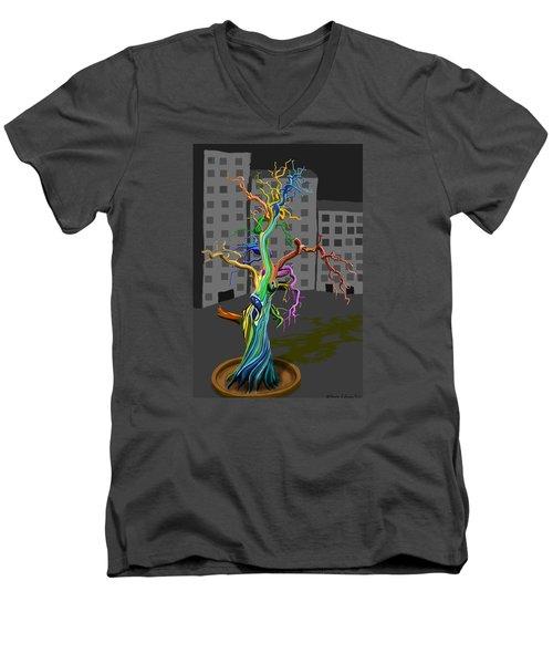Flaming Tree Men's V-Neck T-Shirt