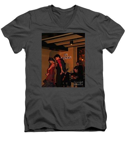 Men's V-Neck T-Shirt featuring the photograph Flamingo Dancers by Haleh Mahbod
