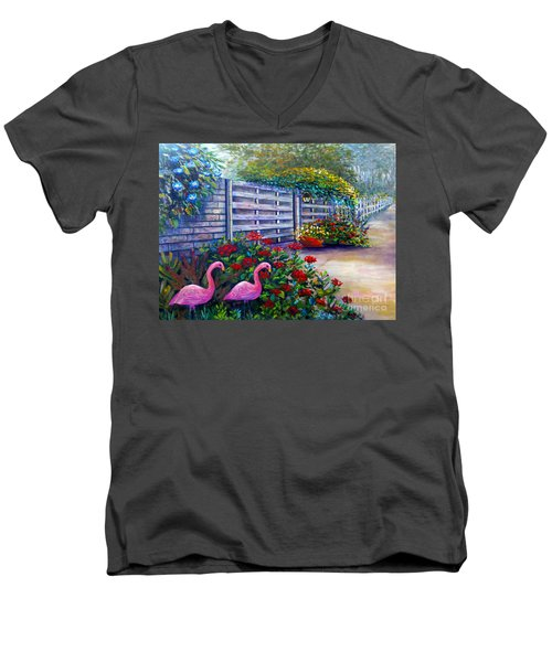 Men's V-Neck T-Shirt featuring the painting Flamingo Gardens by Lou Ann Bagnall