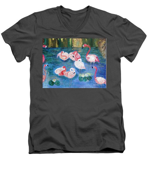 Flamingos Diptich Right Men's V-Neck T-Shirt by Vicky Tarcau