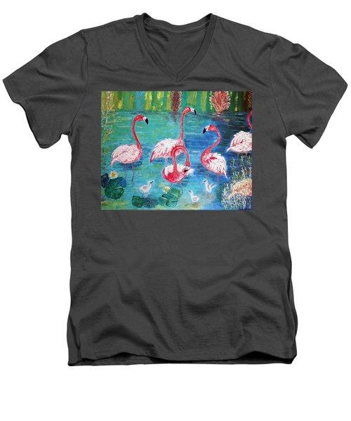 Flamingos Diptich Left Men's V-Neck T-Shirt by Vicky Tarcau