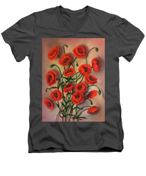 Flander Poppies Men's V-Neck T-Shirt