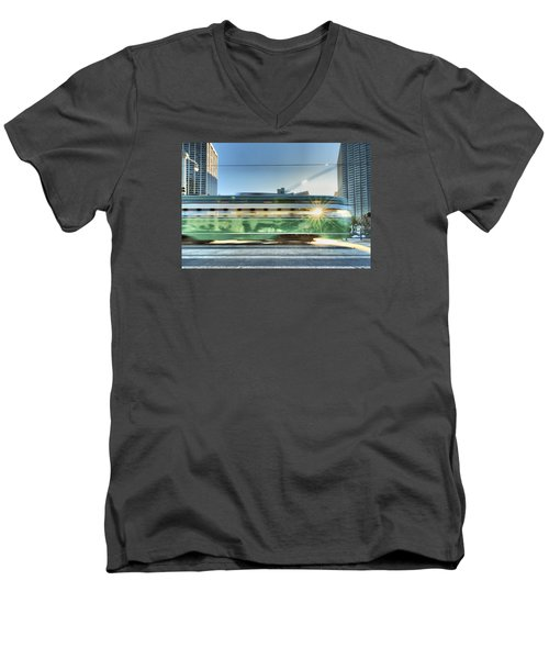 Men's V-Neck T-Shirt featuring the photograph Flash Muni by Steve Siri