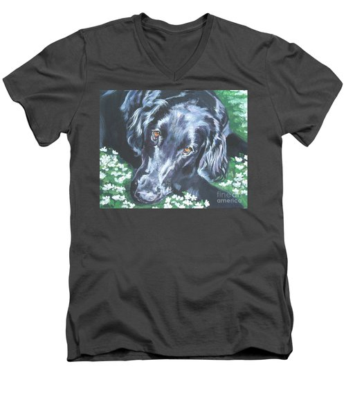 Men's V-Neck T-Shirt featuring the painting Flat Coated Retriever by Lee Ann Shepard