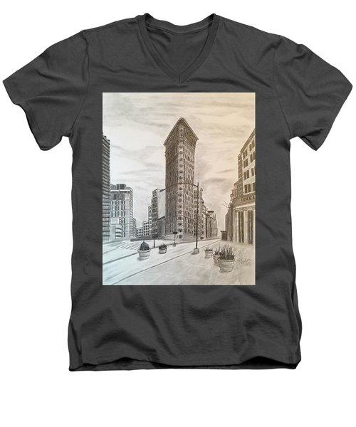 Flatiron Study Men's V-Neck T-Shirt by Tony Clark
