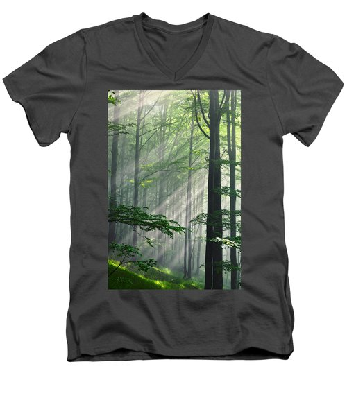 Fleeting Beams Men's V-Neck T-Shirt