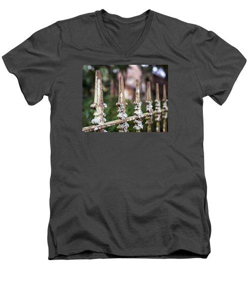 Men's V-Neck T-Shirt featuring the photograph Fleur De Lis Finial by Andy Crawford