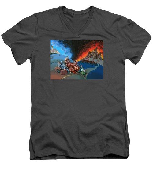 Flight Of Lot Out From Sodom Men's V-Neck T-Shirt