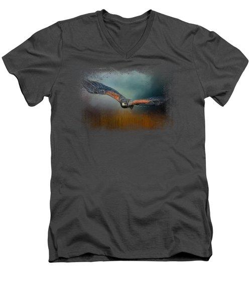 Flight Of The Harris Hawk Men's V-Neck T-Shirt by Jai Johnson