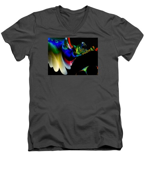 Men's V-Neck T-Shirt featuring the digital art Flight Of The Phoenix by Mario Carini
