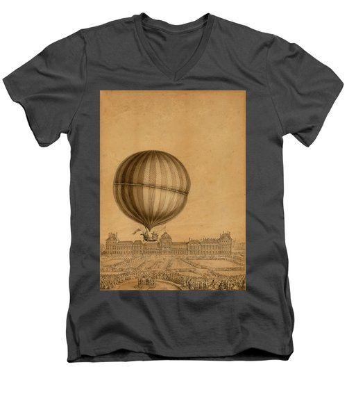 Flight Over Paris Men's V-Neck T-Shirt