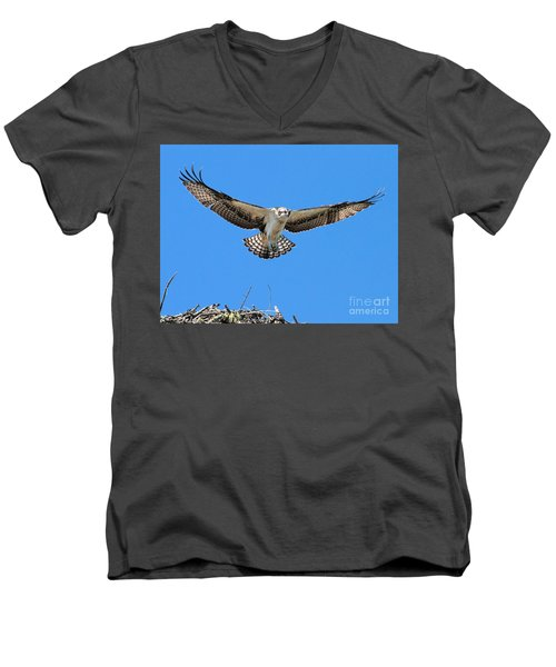 Men's V-Neck T-Shirt featuring the photograph Flight Practice Over The Nest by Debbie Stahre