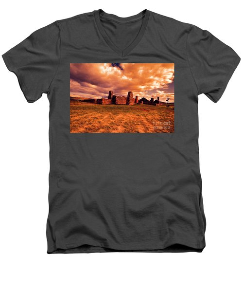 Men's V-Neck T-Shirt featuring the photograph Flinders Ranges Ruins by Douglas Barnard