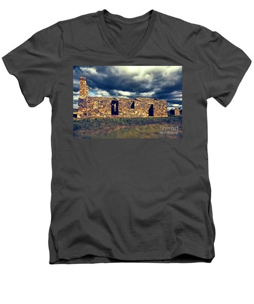 Men's V-Neck T-Shirt featuring the photograph Flinders Ranges Ruins V2 by Douglas Barnard