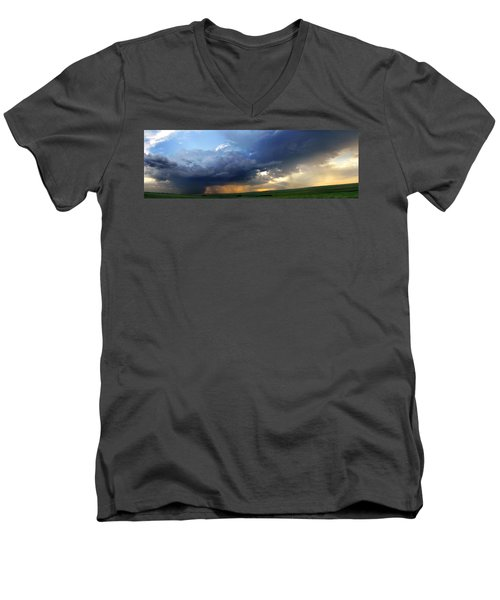Flint Hills Storm Panorama 2 Men's V-Neck T-Shirt