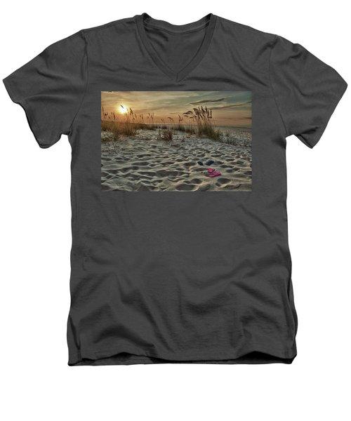 Flipflops On The Beach Men's V-Neck T-Shirt