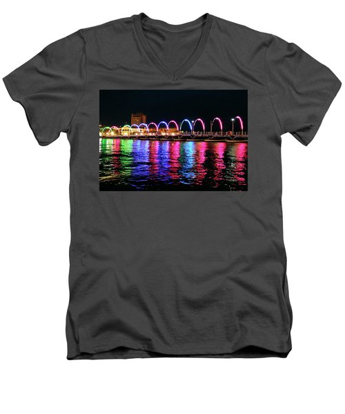Men's V-Neck T-Shirt featuring the photograph Floating Bridge, Willemstad, Curacao by Kurt Van Wagner