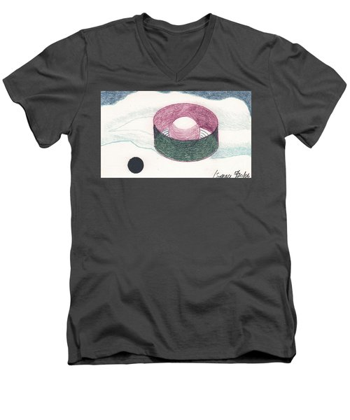 Men's V-Neck T-Shirt featuring the drawing Floating Can With Black Sun by Rod Ismay