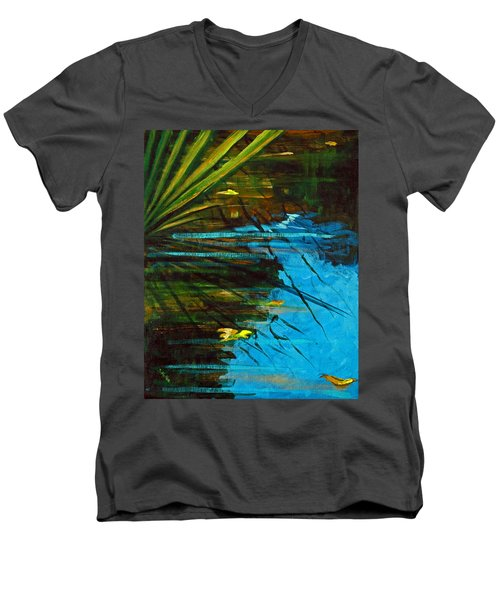Men's V-Neck T-Shirt featuring the painting Floating Gold On Reflected Blue by Suzanne McKee