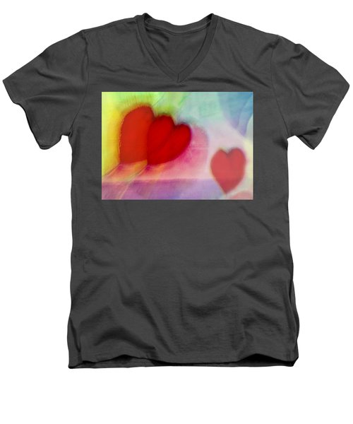Floating Hearts Men's V-Neck T-Shirt by Susan Stone
