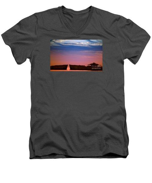 Floating On Orange Men's V-Neck T-Shirt by Rebecca Davis