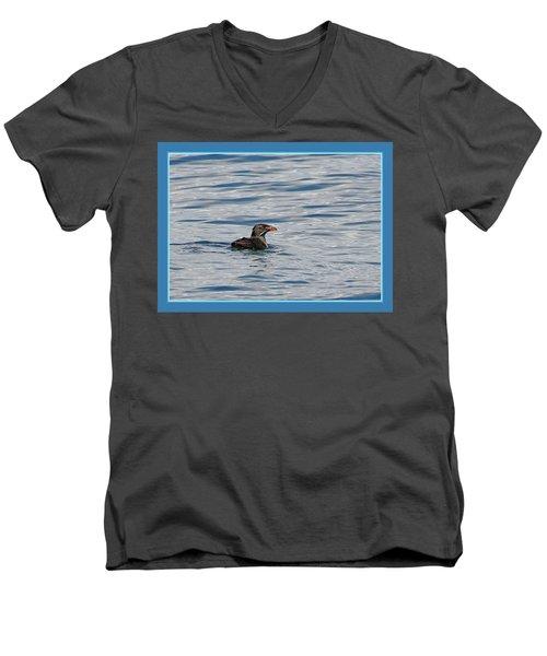 Floating Rhino Men's V-Neck T-Shirt by BYETPhotography