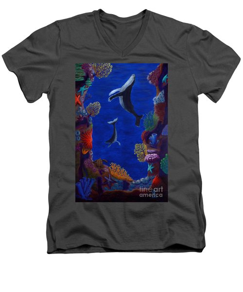 Men's V-Neck T-Shirt featuring the painting Floating Whales by Rebecca Parker