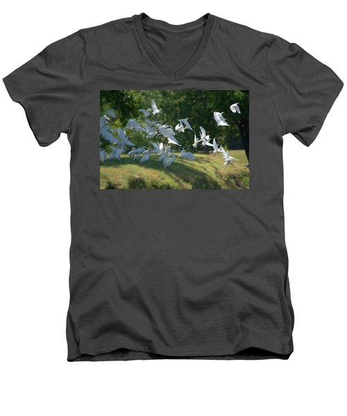 Flock Of Egrets In Flight Men's V-Neck T-Shirt