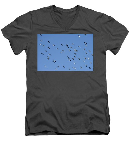 Flock Of Migratory Lapwing Birds In Clear Winter Sky Men's V-Neck T-Shirt