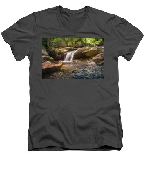 Flooded Waterfall In The Forest Men's V-Neck T-Shirt