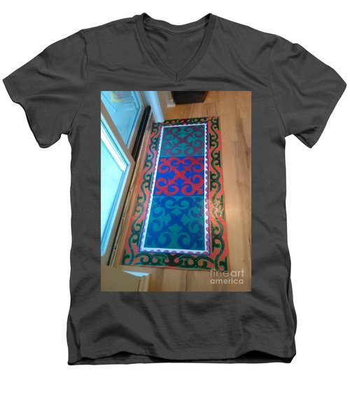 Floor Cloth Arabesque Men's V-Neck T-Shirt by Judith Espinoza