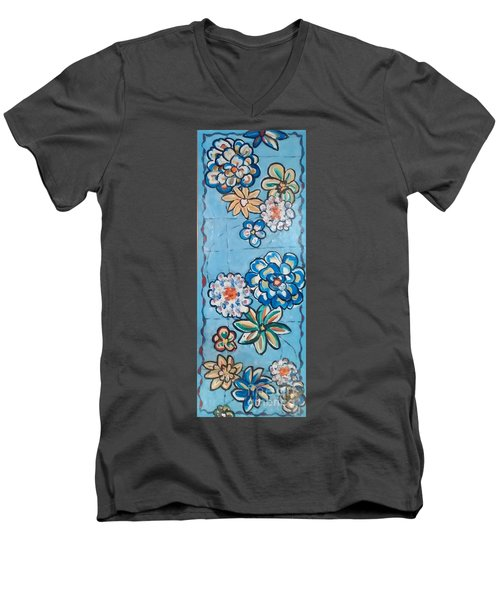 Floor Cloth Blue Flowers Men's V-Neck T-Shirt